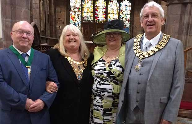 Cllr Mark Warfield (right) with his wife Lesley and Burntwood Town Council chair Pamela Stokes with her husband Keith