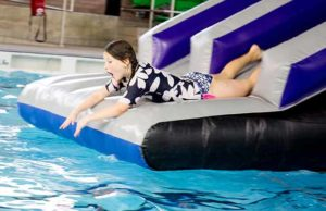 Inflatable fun at Friary Grange Leisure Centre's swimming pool