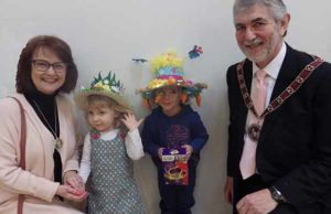 Easter bonnet winners Belle Burton and Thomas West, with Cllr David Leytham and his wife Jan