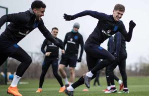 Kyle Walker and John Stones taking part in a training session at St George's Park