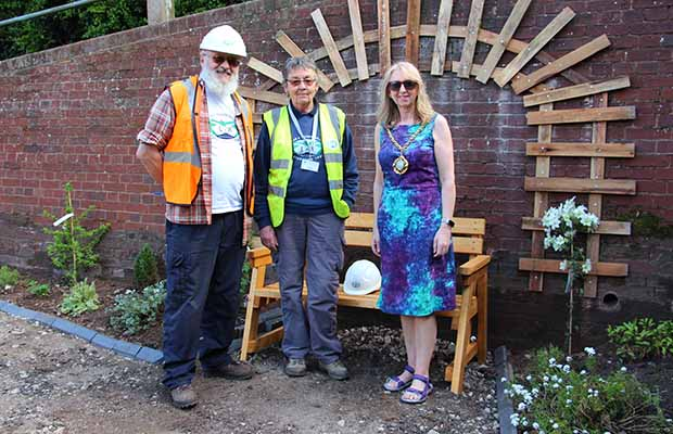 Cllr Janice Greaves with Peter Buck and Christine Bull at the launch of the Garden of Reflection project at Gallows Wharf