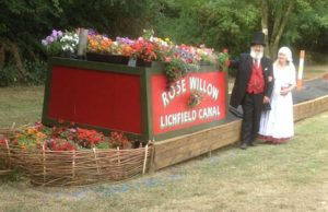 Peter Buck, kitted out as a Victorian engineer, and his wife Jeanne in traditional boatwomen's dress, with Rose Willow