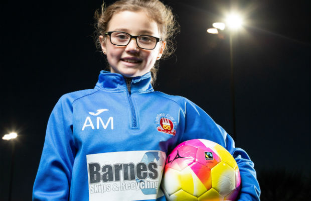 Aimee Meakin with one of the Fairtrade Fortnight footballs