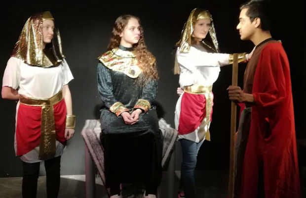 Members of the Limburg group in rehearsal for their production of Exodus into Egypt