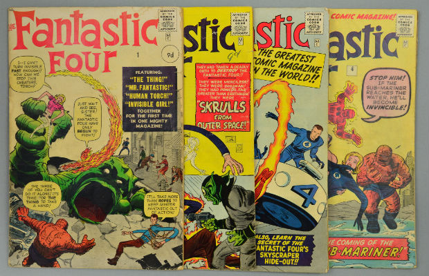 Some of the Marvel comics that sold at auction in Lichfield