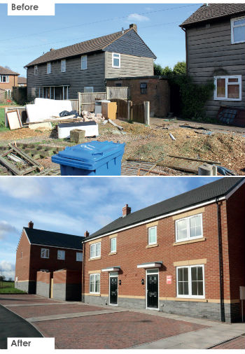 The houses at Levett Road before and after the regeneration scheme