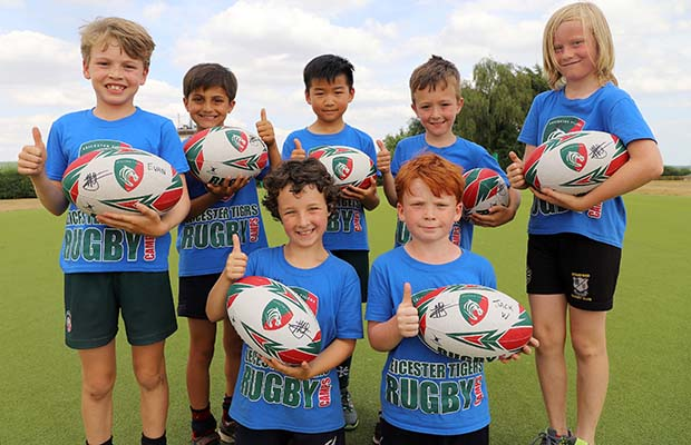 Kids at a Leicester Tigers training camp