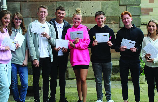 Students from Lichfield Cathedral School collecting their results