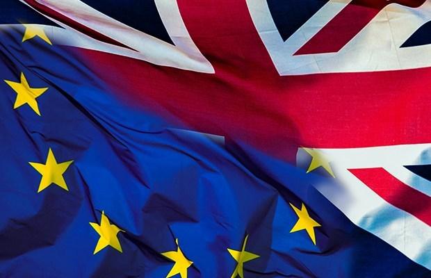 An EU and UK flag