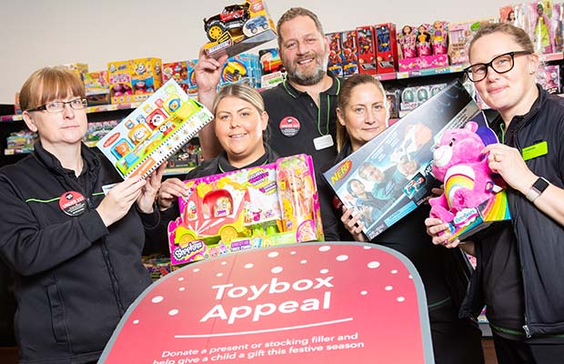 Central England Co-op staff launching the Christmas Toybox Appeal