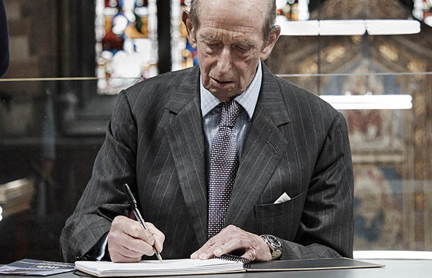 The Duke of Kent signing the visitors' book at St Mary's