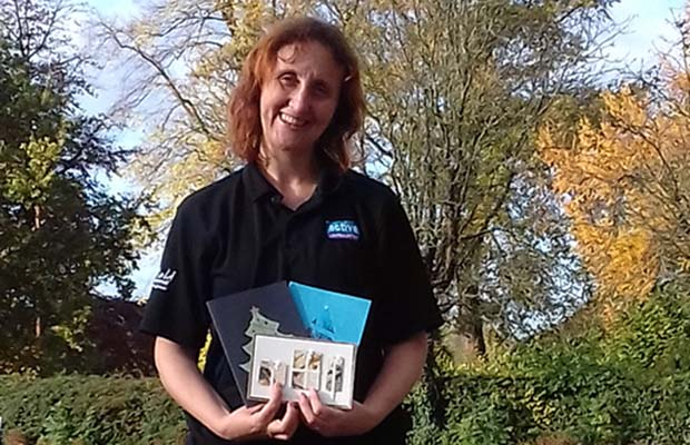 Ruth Piddington getting ready for the Christmas card workshop