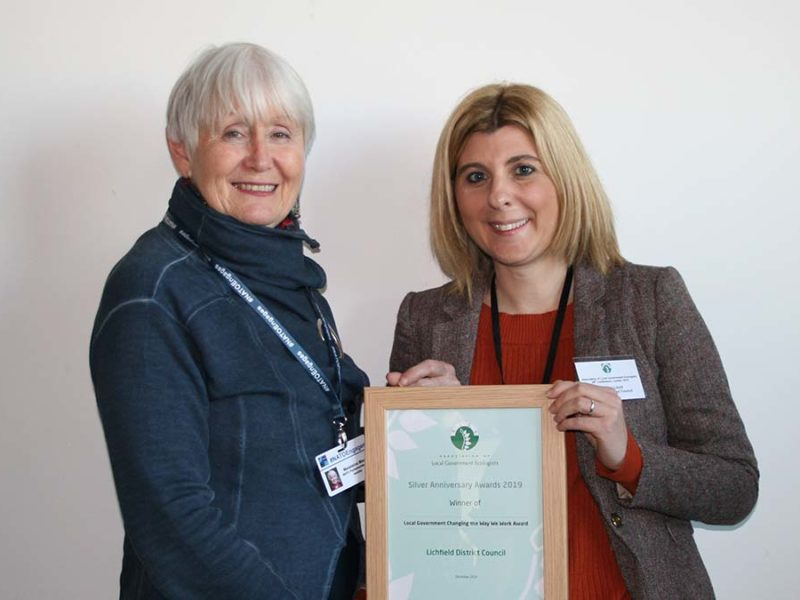 The biodiversity award being handed over to Lichfield District Council