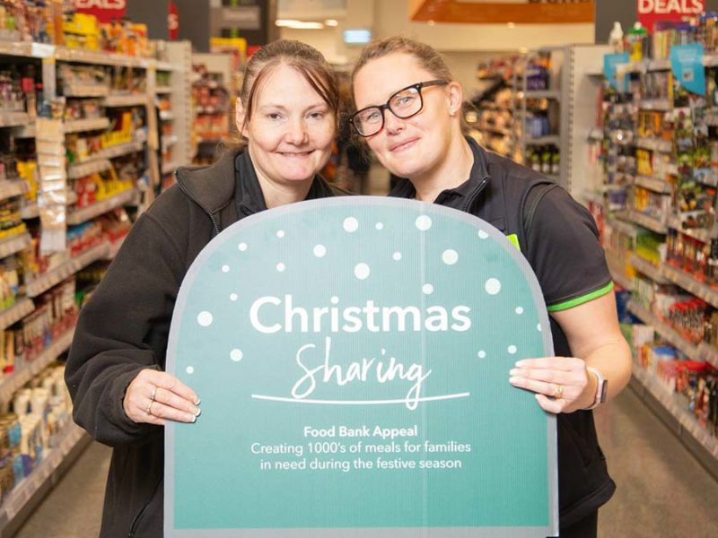 Staff at Central England Co-operative launching the Christmas Food Bank appeal