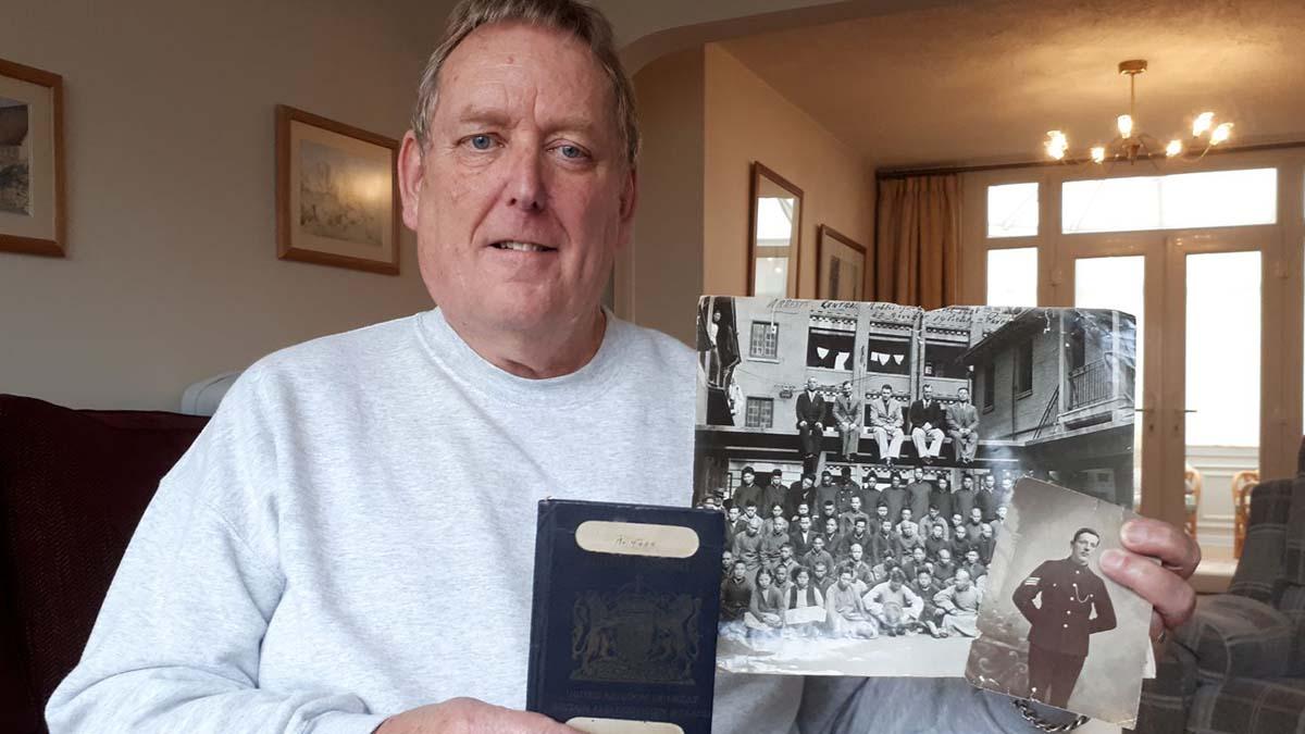Keith Franklin with Albert's passport