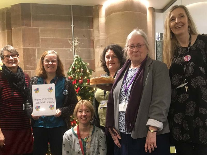 Angela Parsons, Jayne Kirk, Liz Leyshon, Anne Parsons, Margaret Hawksworth and Jane McCurdy celebrating the milestone for Lichfield Library