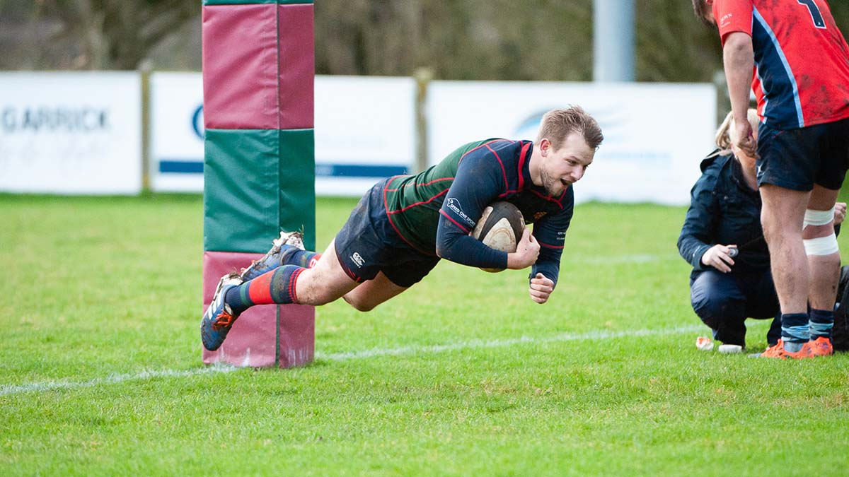 Luke Massey of Lichfield Rugby scores in the Midlands 1 West match against Stoke