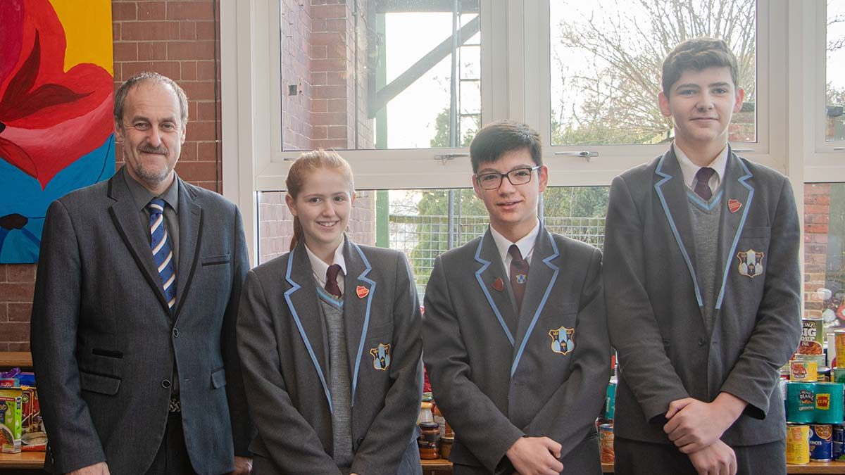 Dr Daryl Brown with pupils Lily Stevenson, Alex Walker, Jimmy Parker