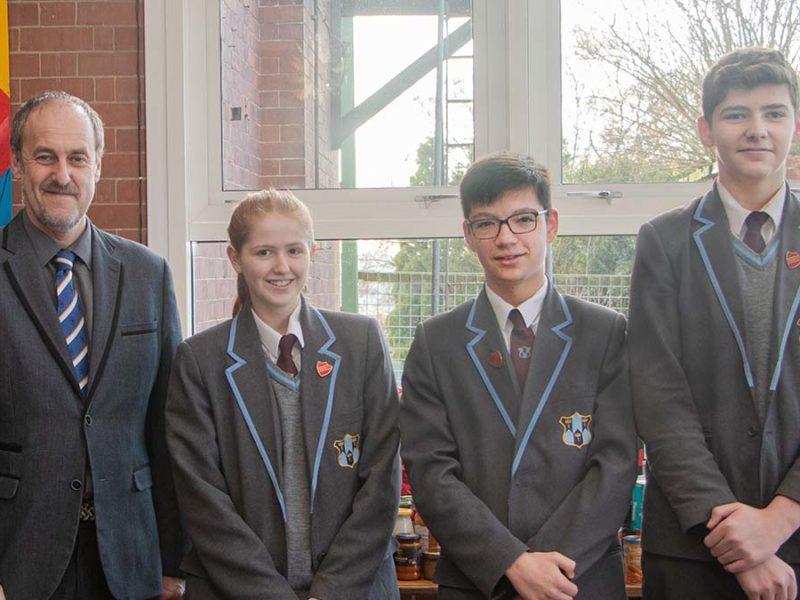 Dr Daryl Brown with pupils Lily Stevenson, Alex Walker, Jimmy Parker