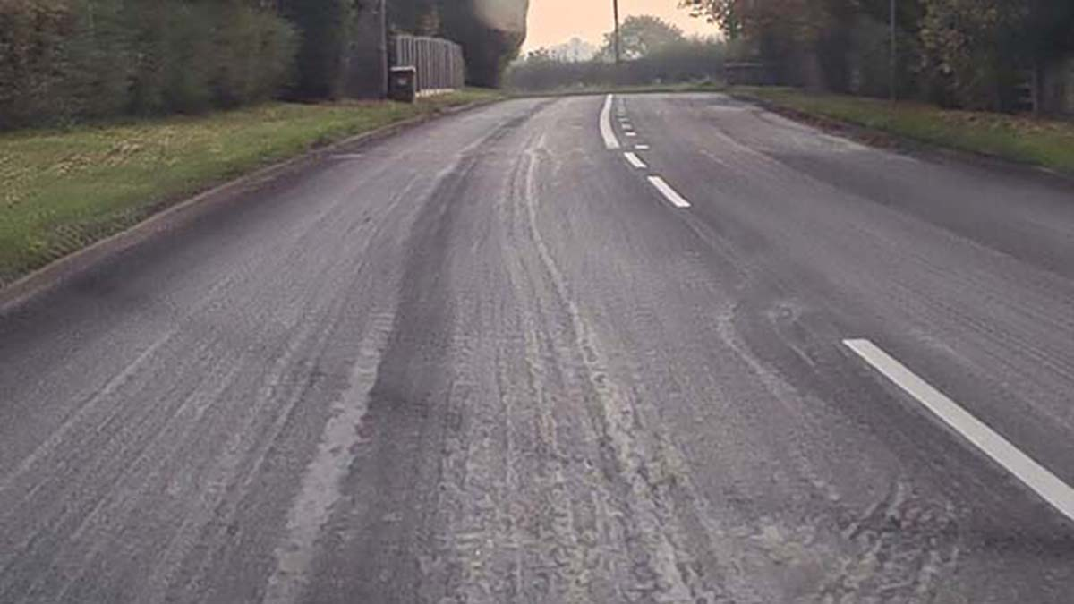 Visible marks on the A5190 after the resurfacing works were carried out