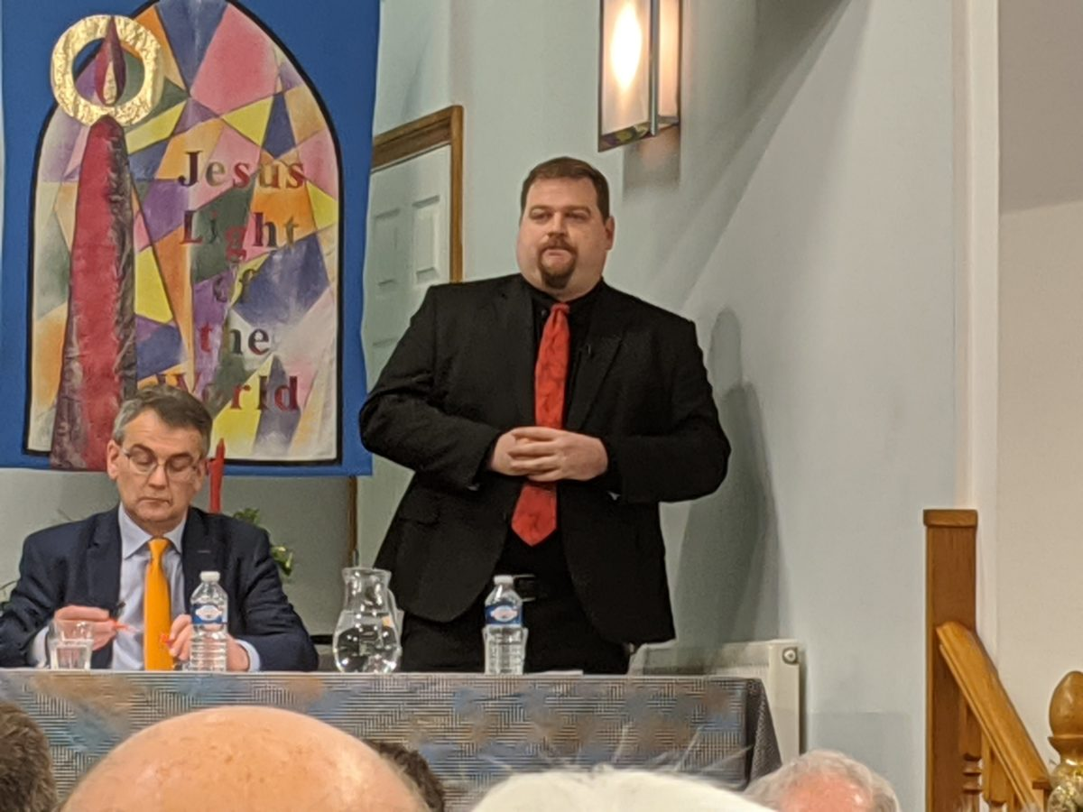 Dave Robertson speaking at the hustings event