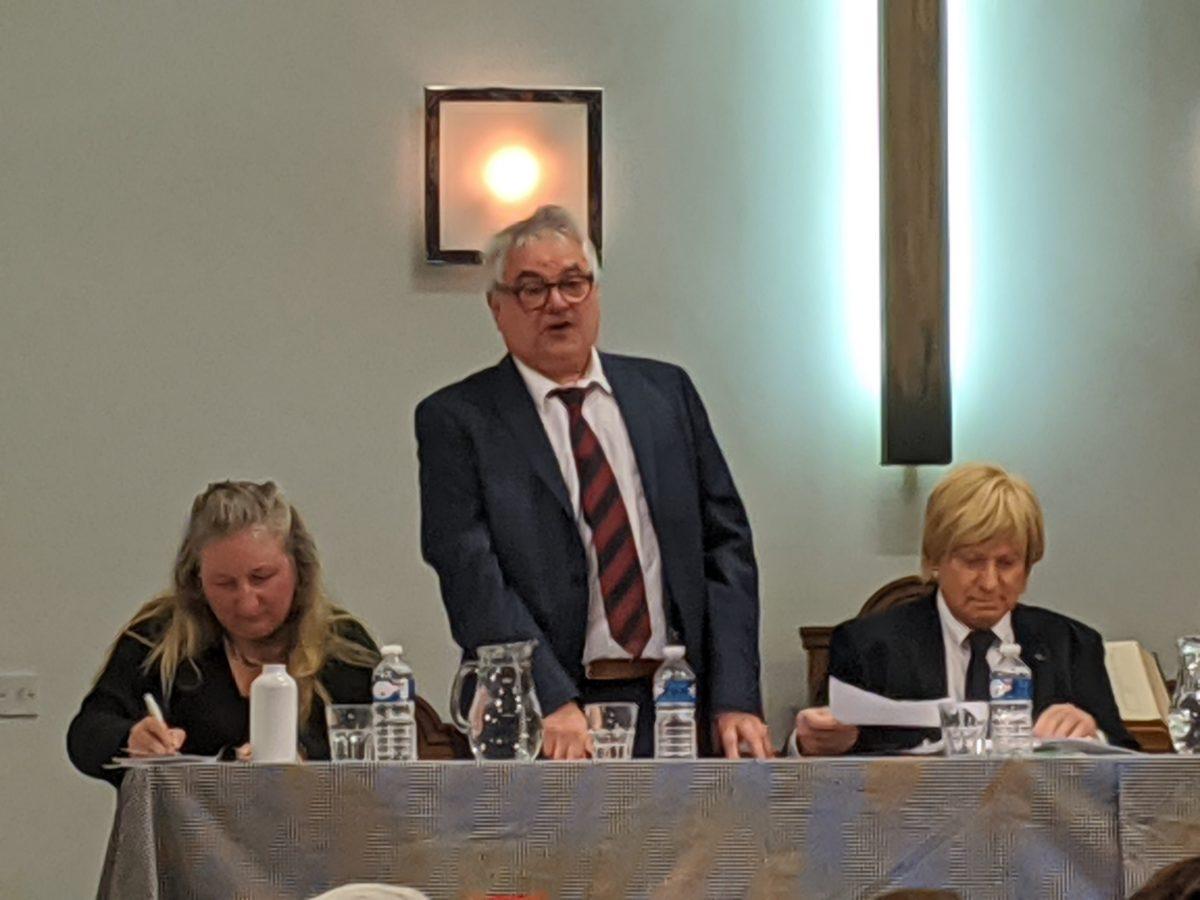 John Madden speaking at the hustings event