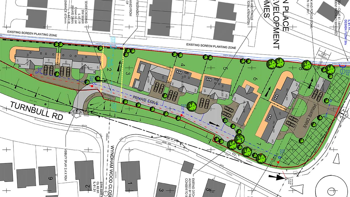 The proposed layout for new homes in Fradley