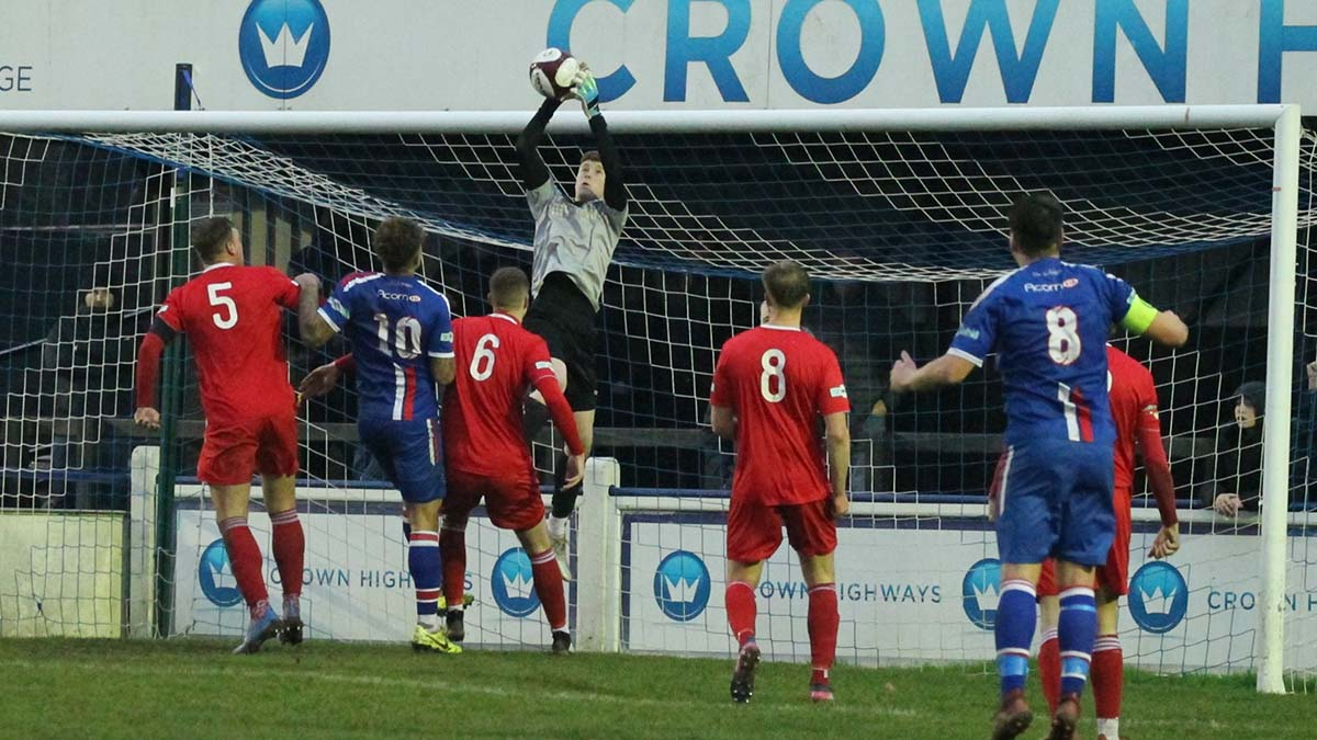 Stocksbridge keeper Jacob Carney collects a ball in the area. Picture: Dave Birt