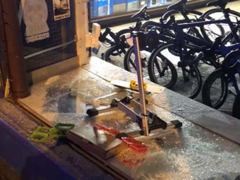 The window smashed by thieves. Picture: Sanders Cycles