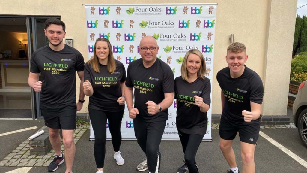 Nick Hepburn, Gemma Randle, Martin Ward, Charlotte Trueman and Nick Heath from Four Oaks Financial Services getting ready for the Lichfield Half Marathon
