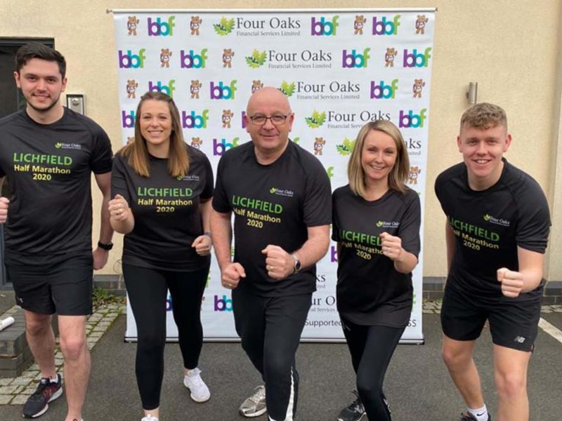 Nick Hepburn, Gemma Randle, Martin Ward, Charlotte Trueman and Nick Heath from Four Oaks Financial Services getting ready for the Lichfield Half Marathon