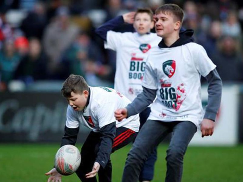 Lichfield players taking on The Ultimate Big Boot challenge at Leicester Tigers