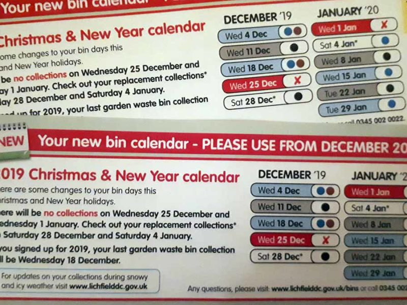 The bin collection calendar featuring the wrong date (top) with the replacement one issued by Lichfield District Council