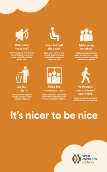 The 'Considerate Behaviour' poster from West Midlands Railway
