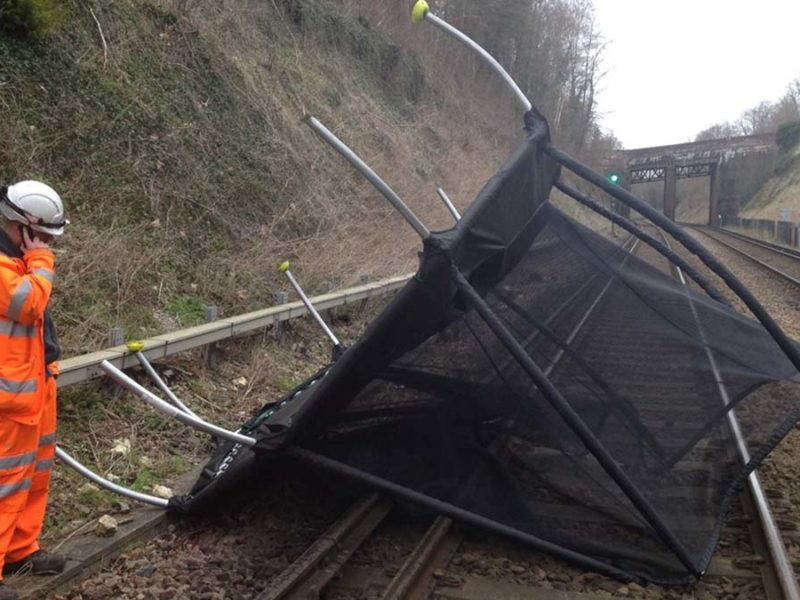A trampoline blown on to the West Coast Main Line last month