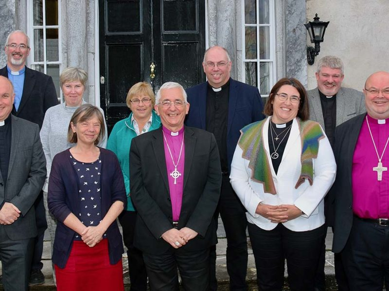 The Bishop of Lichfield (centre) during his visit to Cork