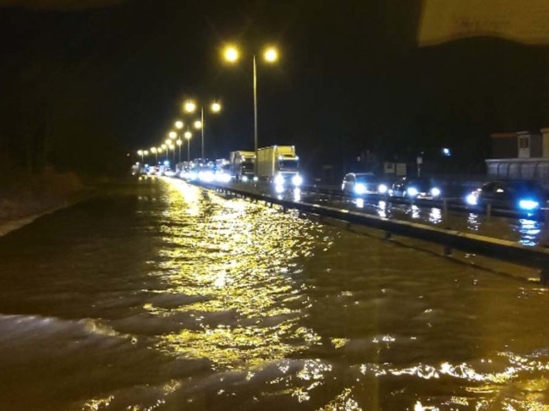 Flooding on the A38 during Storm Dennis
