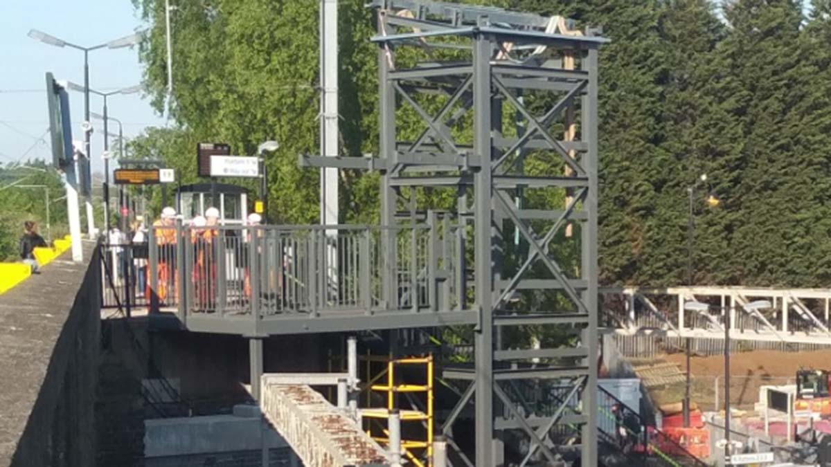 The lifts during the initial construction at Lichfield Trent Valley
