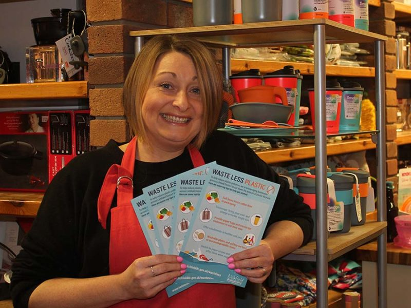 Lizzy Braine, from The Kitchen Shop in Lichfield, with the new flyer