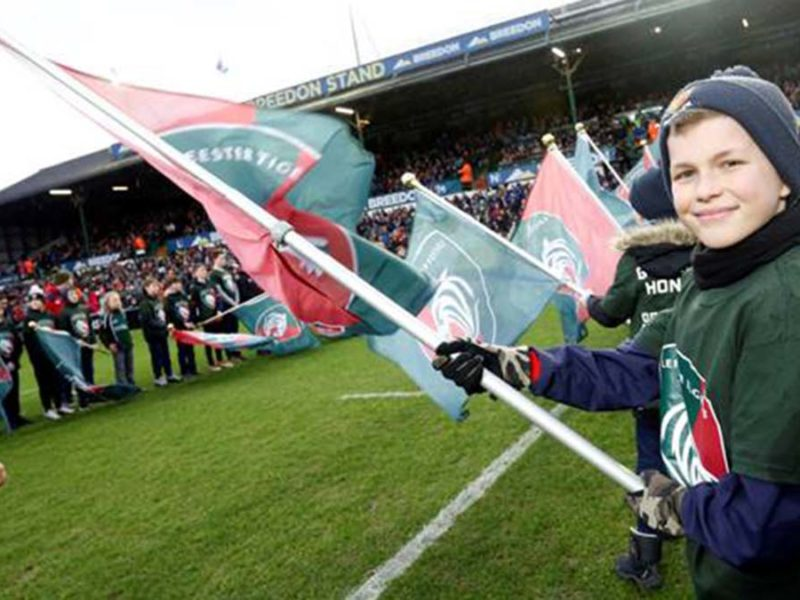 Junior Lichfield players performing guard of honour duties at Leicester Tigers