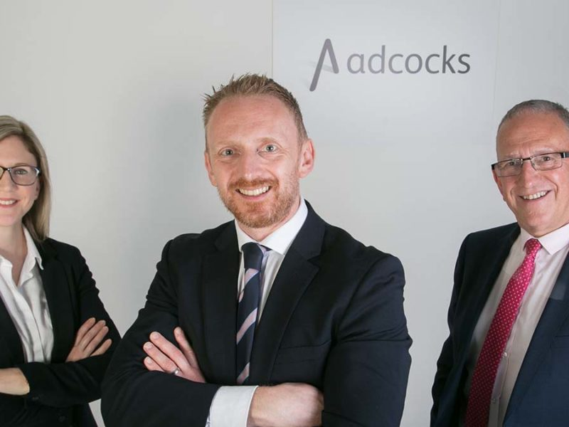 Adcocks Solicitors director Frances Di Pierri with her brother, director Hedley Adcock and their father, senior director Mark Adcock
