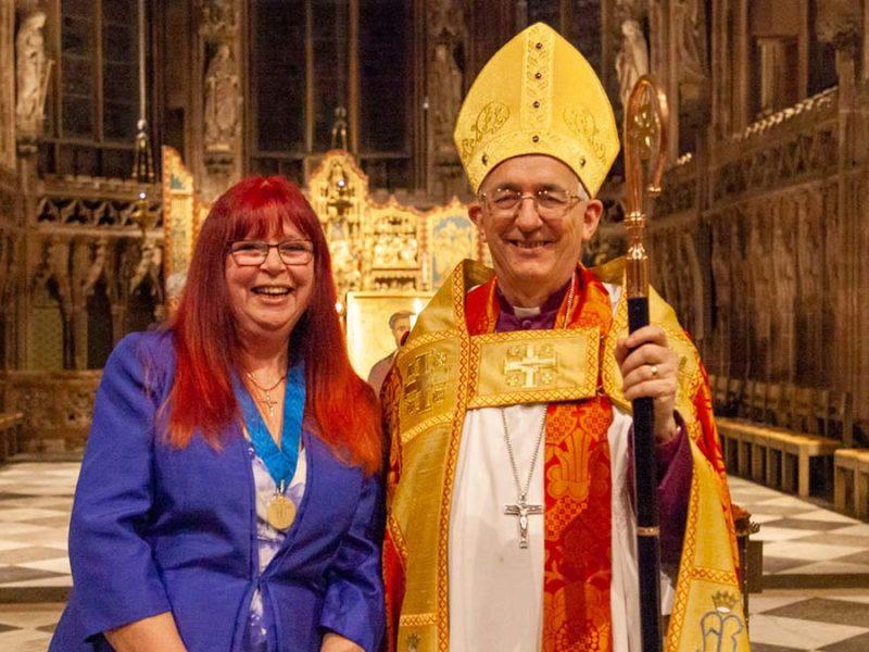 Lynne Mills with the Bishop of Lichfield