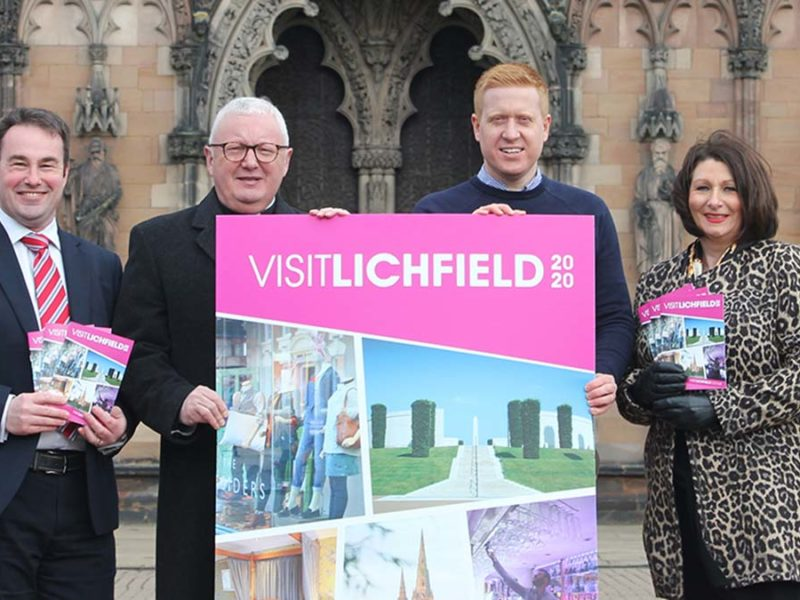 Cllr Iain Eadie, The Very Rev Adrian Dorber, Cllr Doug Pullen and Lisa Clemson at the Visit Lichfield guide launch