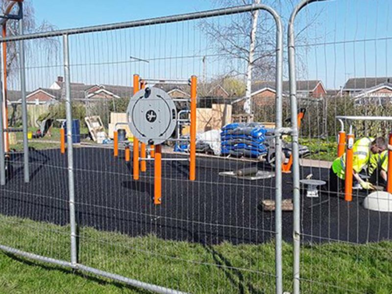 The new outdoor gym in Lichfield being installed