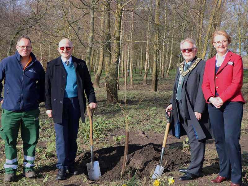 Paul Niven, John Winterton, Cllr Joe Powell and Philippa Rawlinson planting the trees
