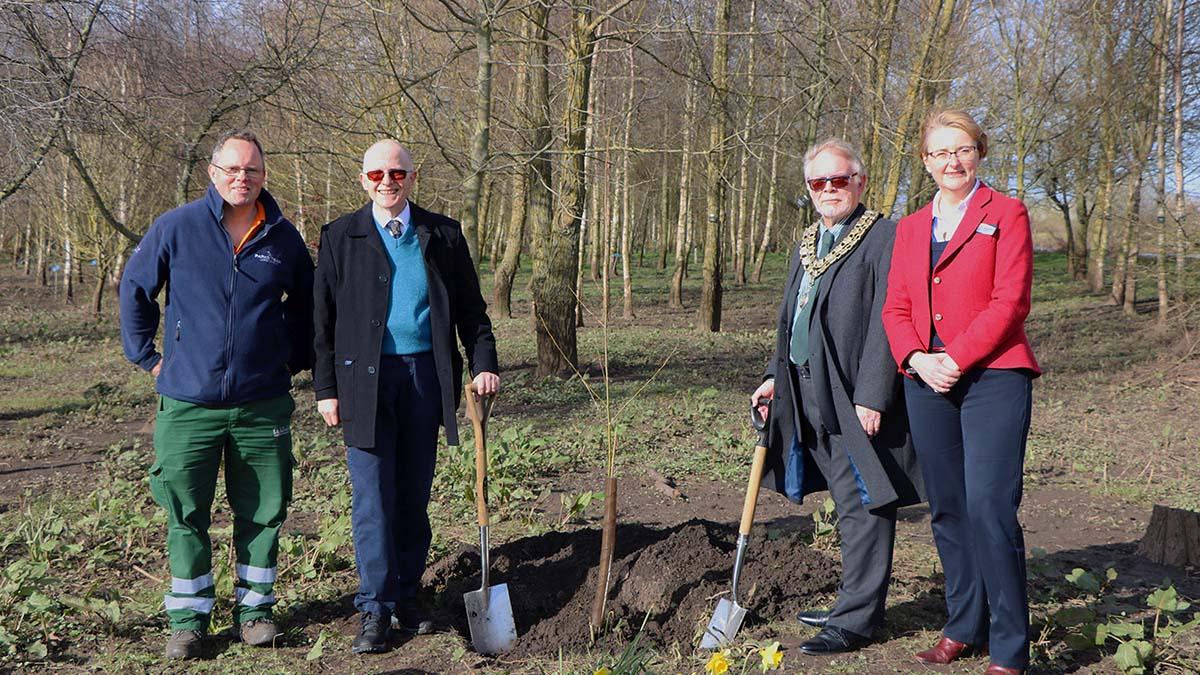 Paul Niven, John Winterton, Cllr Joe Powell and Philippa Rawlinson planting the trees