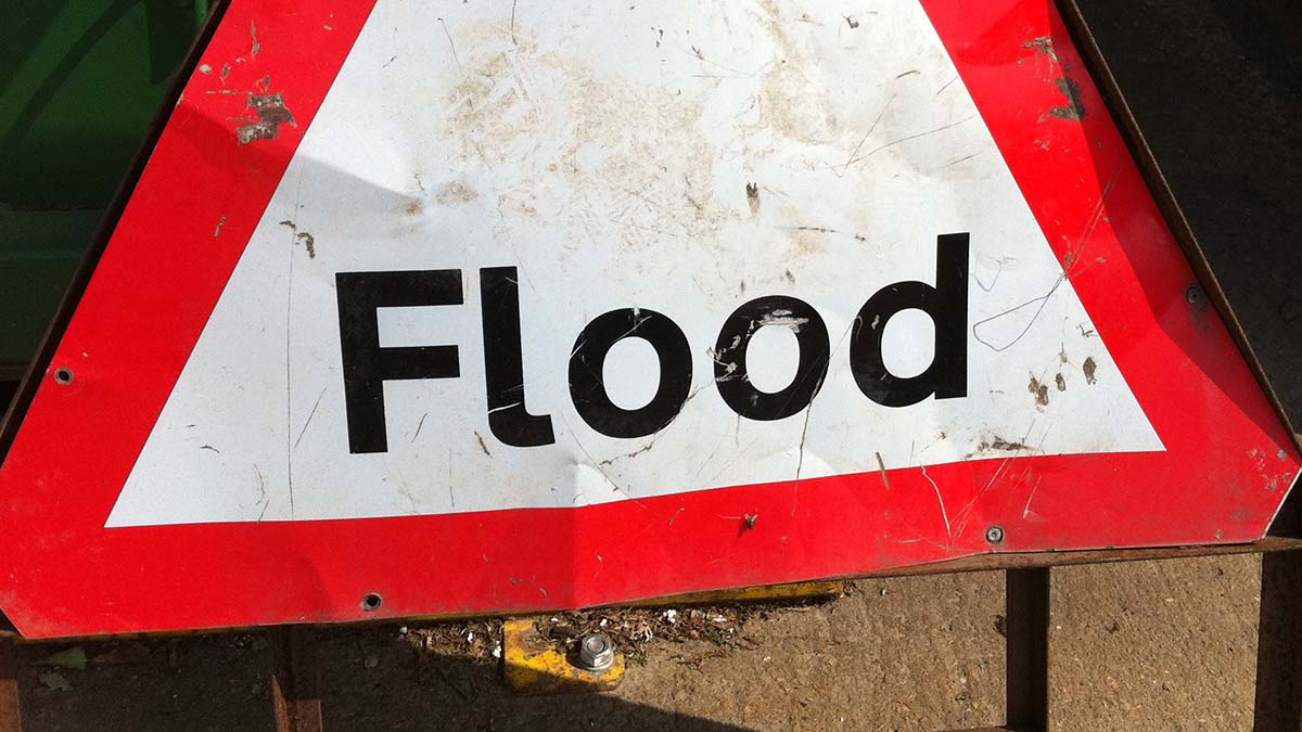 Flood sign. Picture: Howard Lake