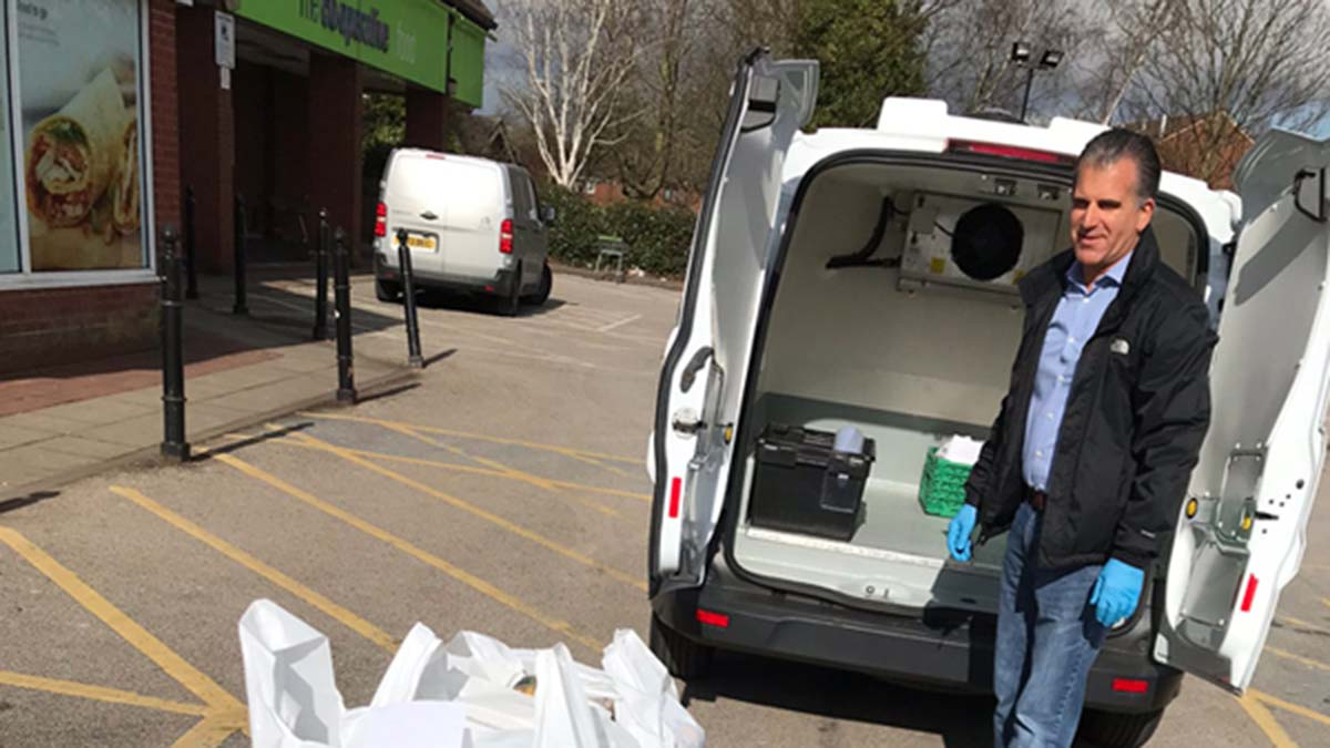 Council worker Dean Epton loading up deliveries at Central England Co-op in Lichfield