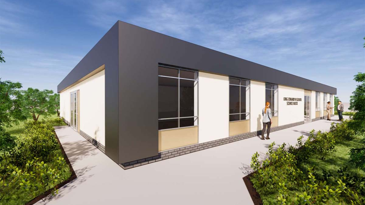 An artist's impression of the new classroom block at King Edward VI School in Lichfield