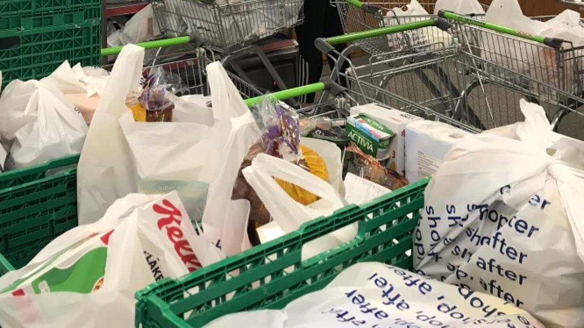 Deliveries being bagged up by Central England Co-op